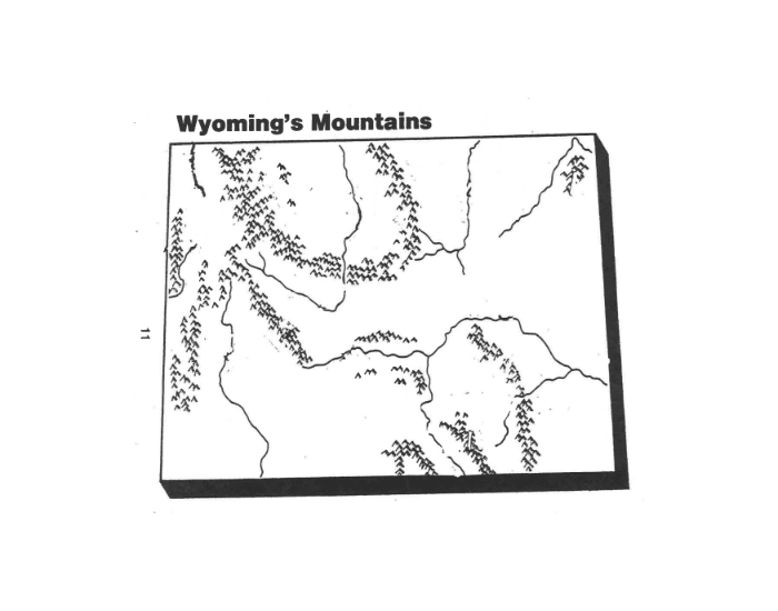 WYOMING PHYSICAL GEOGRAPHY MAP