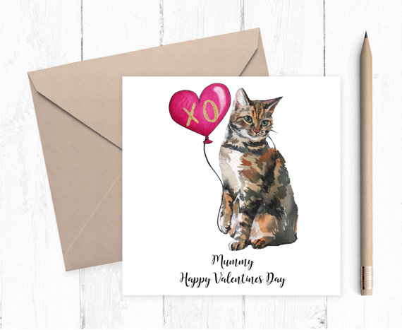 Cute Cat Valentine's Card