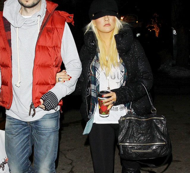Christina Aguilera and boyfriend out for shopping in Aspen