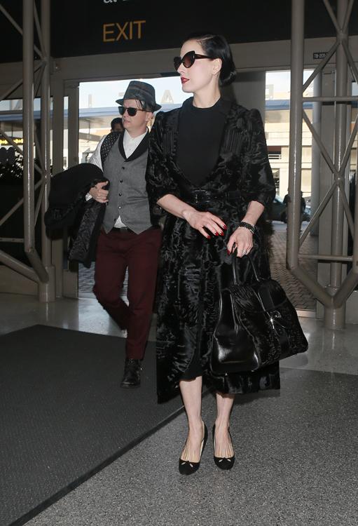 Dita Von Teese Leaves LA with a Delvaux Fur Bag  PurseBlog