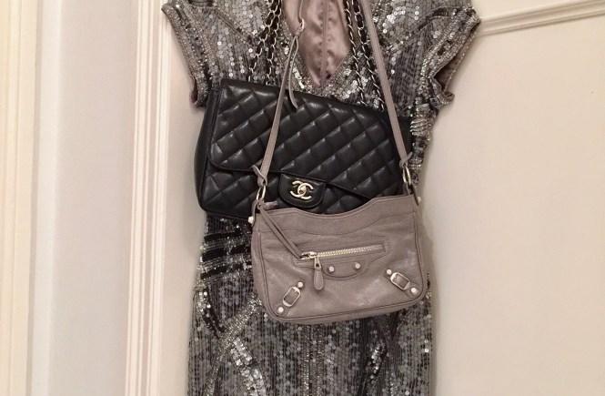 sequin dress with a chanel jumbo and a balenciaga hip