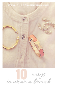 10 ways to wear a brooch. Vintage cardigan with a Chanel brooch, Vita Fede bracelet and Hermes Clic bracelet.