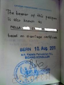 Catatan KBRI, Penambahan Nama Setelah Pernikahan