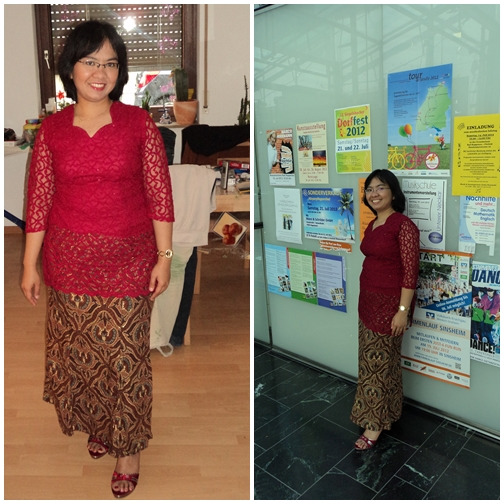 Let's Go To the Church. Kombinasi Atasan Kebaya dan Rok Batik 08 Juli 2012 Bad Rappenau, Jerman.