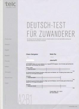 Sertifikat Nilai Kursus Integrasi di Jerman