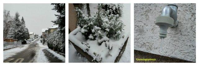 Foto Kiri: Pemandangan Jalanan Depan Rumah. Foto Tengah: Salah satu Pot Pemilik Kontrakan di Penuhi Salju. Foto Kanan: Air yang Menetespun jadi membeku