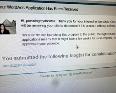 Saya sudah mendaftar WordAds dan Mendapat Email Konfirmasi