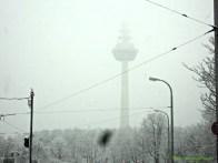 Telecommunication tower. Pemandangan di Mannheim