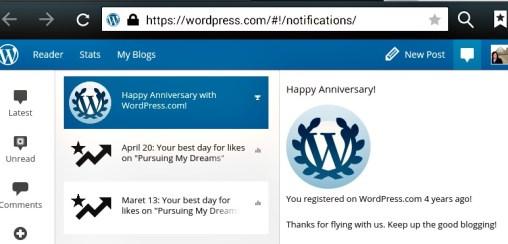 4 Tahun Bersama WordPress. Ucapan Selamat 4 Tahun Bersama WordPress