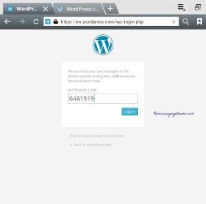 Foto 5. Kalau login ke wordpress harus selalu masukkin kode yang kita terima dari sms