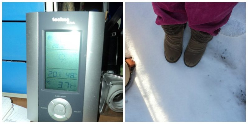 minus 3,7 derajat c. mau beresin balkon pakai sepatu boots biar ga nembus dinginya