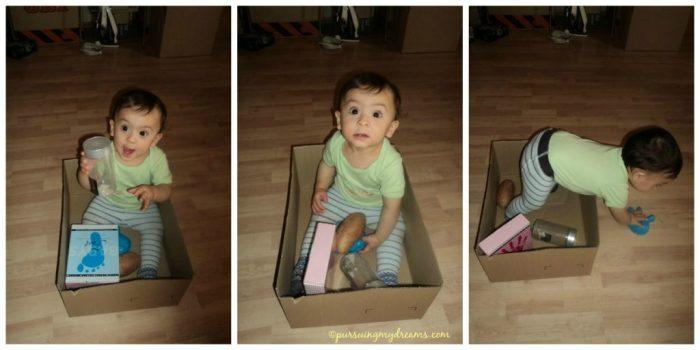 Contoh Permainan anak 9 bulan. Masukan anak kedalam kardus beserta mainan kesayangannya. Sayang kardusnya kekecilan, tidak sempat cari yang besar hehe