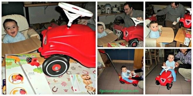 Mobil Bobby Car dibeli saat Ben usia 6 bulan, saat itu duduk masih goyang, jadi kalau main pegangi pundak Ben