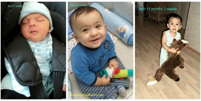 Waktu cepat sekali berlalu, tak terasa jagoanku Benjamin sudah 1 tahun usianya. Foto kiri Ben usia 1 minggu saat kami mau pulang dari rumah sakit.