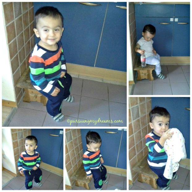 Benjamin lagi suka sekali duduk dijongkokan. Ben mundur pelan-pelan sampai bisa duduk ketengah. Ben 15 bulan.