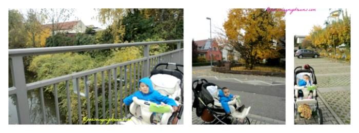 Biar cuaca musim gugur dingin, kami selalu jalan-jalan. Minimal 1 jam menghirup udara luar rumah