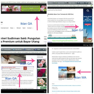 Contoh pemasangan iklan GA dan WA bersamaan