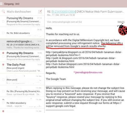 Jawaban Google DMCA atas pelaporan 3 blog yang copas artikel saya