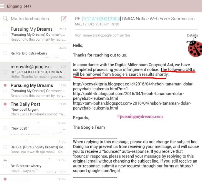 Jawaban Google DMCA atas pelaporan 3 blog yang copas artikel saya. Kasus selesai artikel copas sudah dihapus. Thanks Team google