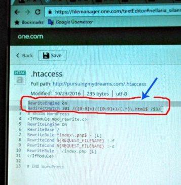 Setelah berada di htaccess masukkan kode untuk ganti Permalink Blog