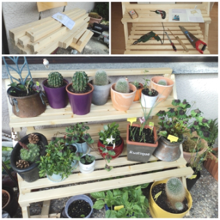 Rak tanaman hasil karya suami juga. Wooden Flower Shelf