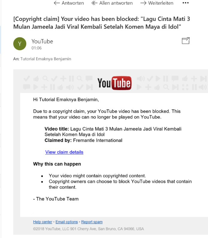 video youtube kena cekal Claimed by Fremantle International . Masa dia klaim Indonesia idol juga