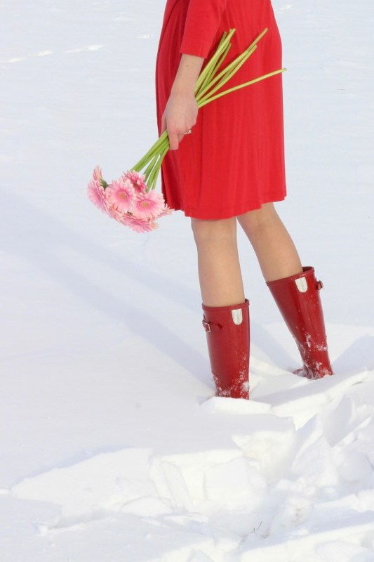 Hunter Boots and Red Dress up