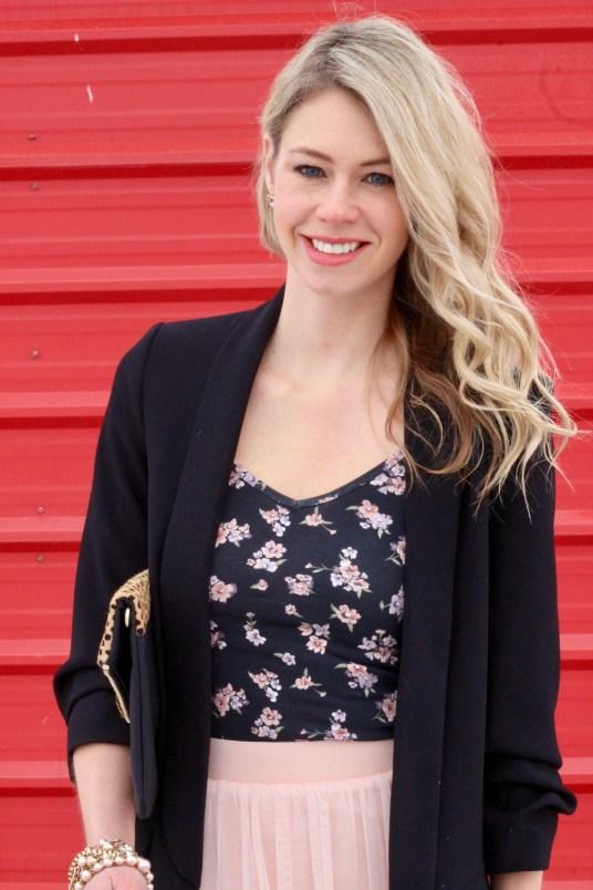 Blush pink tulle skirt, blazer, floral tank