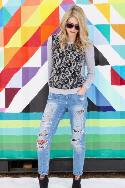 Spring Trend: Fish nets and distressed denim