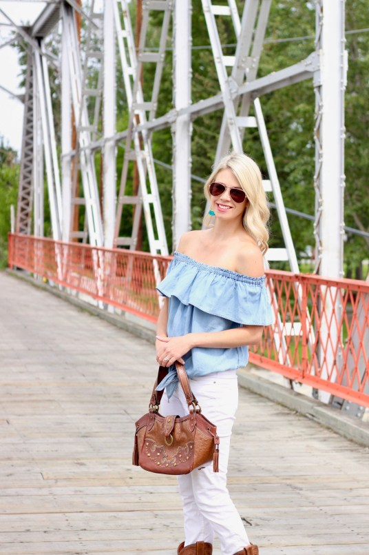 Texas must-haves: ruffle denim shirt, white jeans, cowboy boots and purse