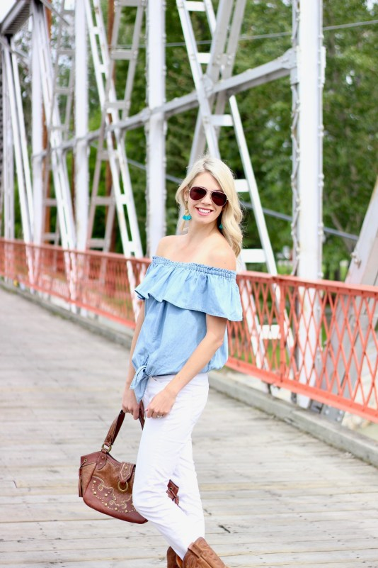Stampede Style: Off the shoulder denim shirt, white jeans, cowboy boots