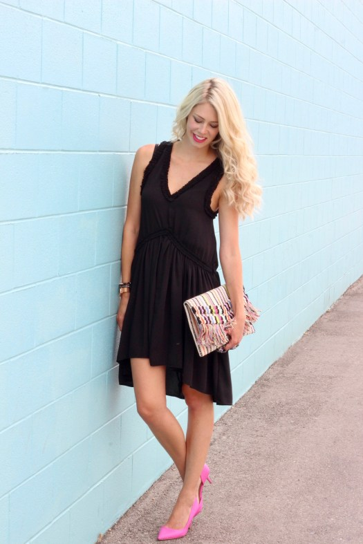 Summer to Fall outfit ideas - black dress, pink heels, Stella & Dot Taj Clutch