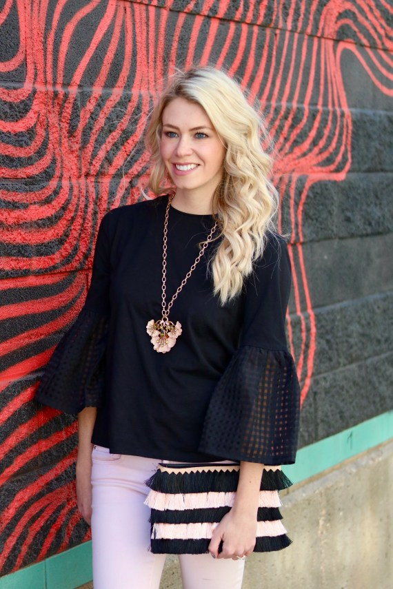 Spring Style Outfit Inspiration - Stella & Dot OOTD - Peplum top, Fringe clutch, statement necklace #fashion #style #springstyle #springtime #ootd #outfitinspiration