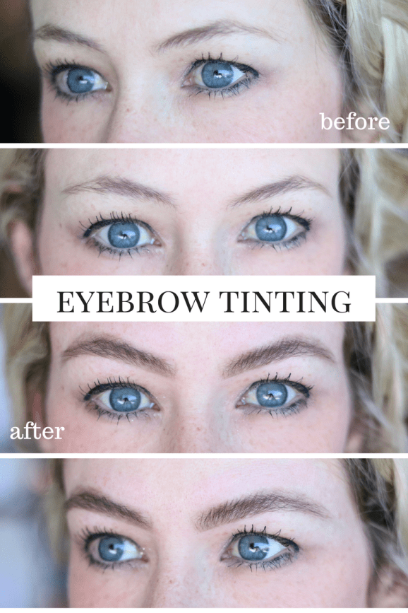 Eyebrow Tinting will change your life! No microblading here, just shaping your natural brows! See the full eyebrow tinting before and after!