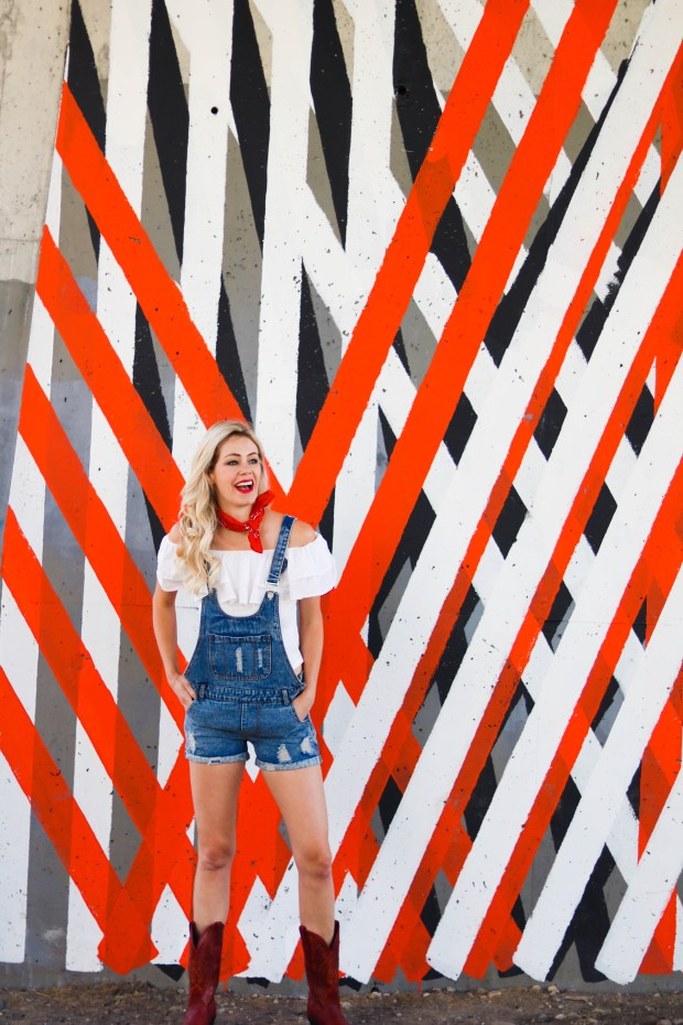 Calgary Stampede Outfit - Outfit Inspiration for the Cowgirl! OVerall shorts, off-the-shoulder shirt, red bandana, red cowboy boots - #fashion