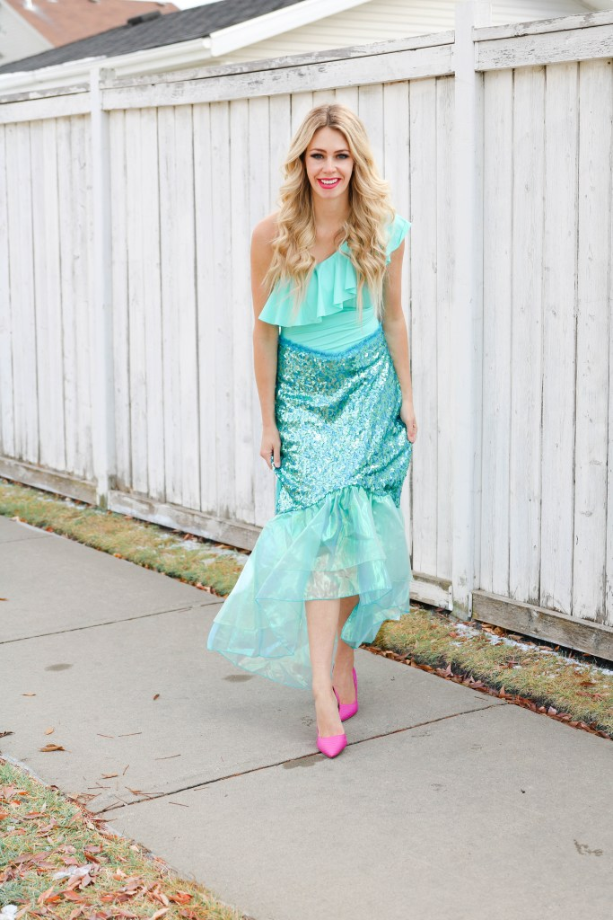 Mermaid Halloween Costume ideas - DIY with a full-piece bathing suit!