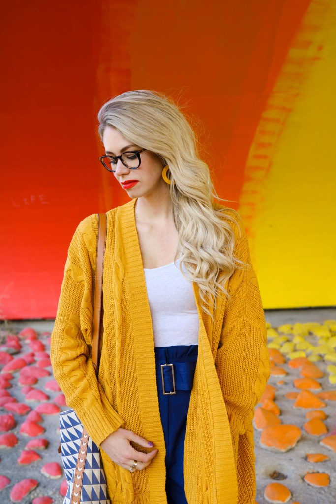 Fall Fashion Outfit Ideas- mustard yellow cardigan and high waited ruffle pants