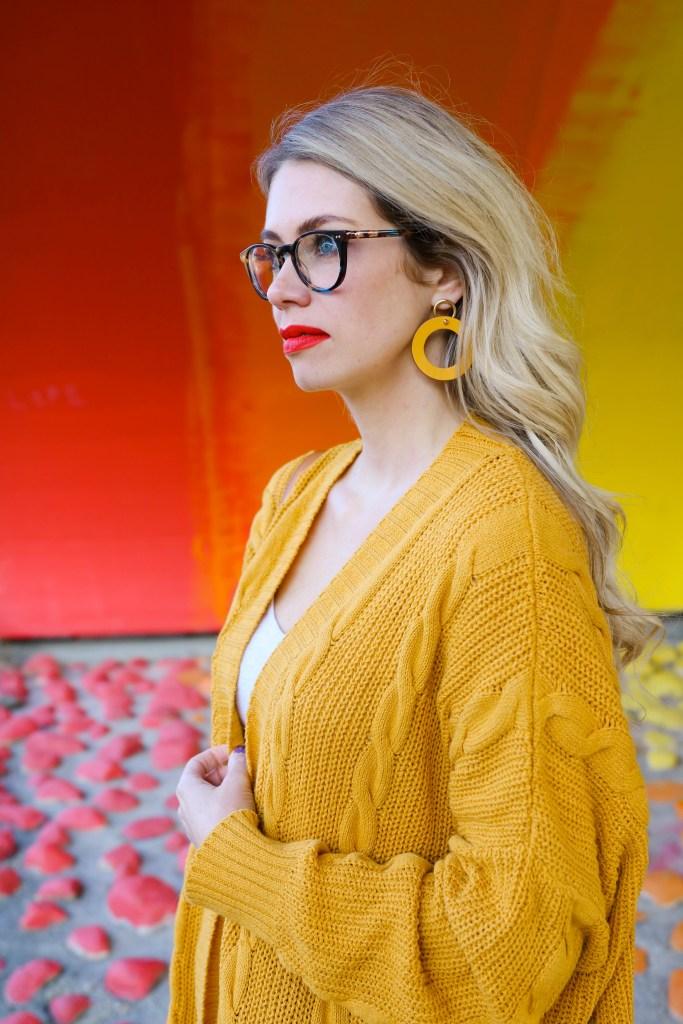 Fall Fashion Outfit Ideas- mustard yellow cardigan and high waited ruffle pants