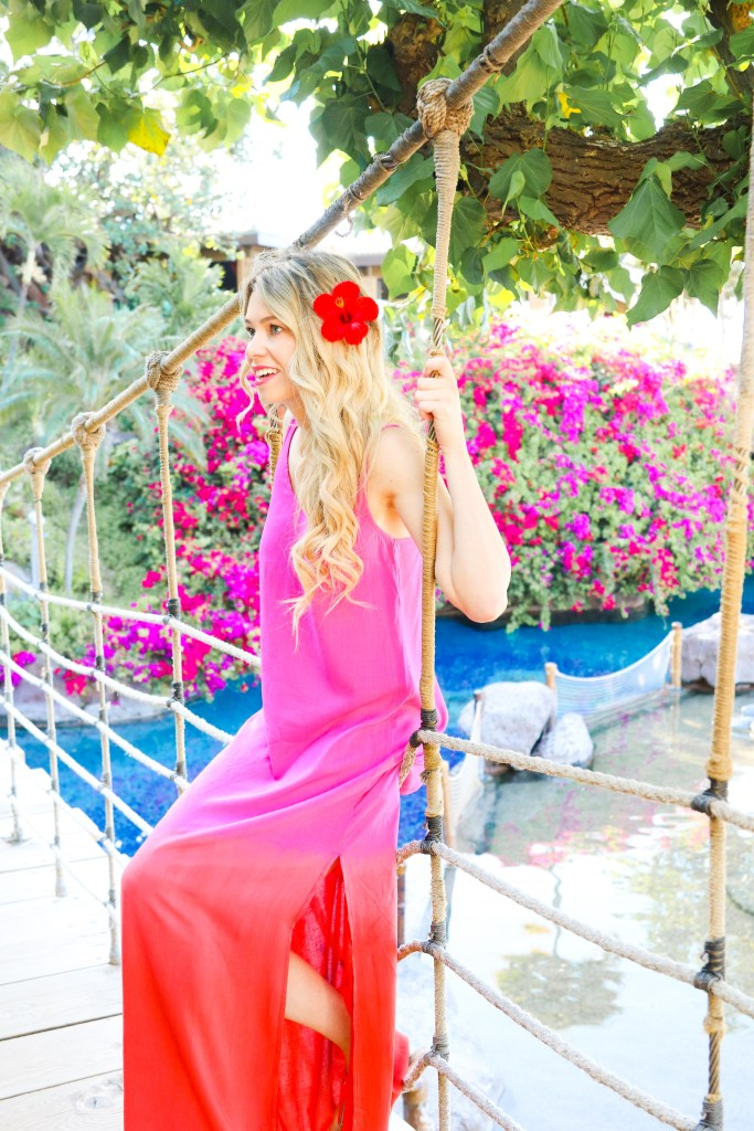 Sincerely Jules x Billabong - spring summer swim styles - red pink ombre dress at the Hyatt Maui