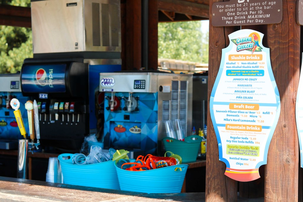 Boulder Beach alcoholic drinks by the pool- travel tips - drink menu