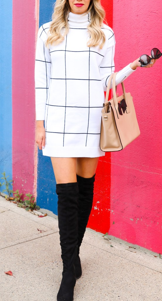 LOVE THIS OUTFIT! Fall fashion 2019 - turtleneck grid sweater dress, over-the-knee-boots - #outfitinspiration #fallfashion #2019 #ootd