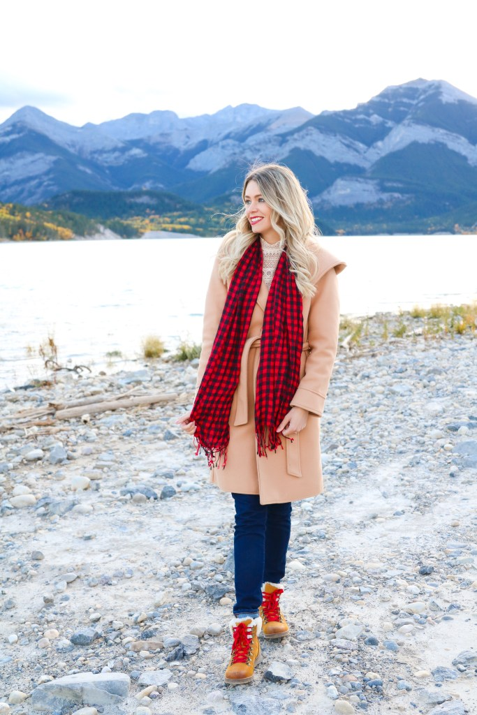 Barrier Lake Alberta, Must-Visit Fall Photography in Canada, Fall outfit Inspiration, Canadian Style - camel trench- buffalo plaid, hiking boots #style #fashion #canada #travelphotography #travel