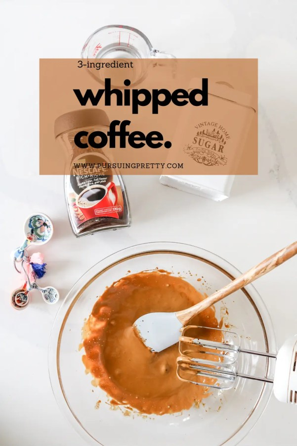 WHIPPED COFFEE RECIPE! The easiest, three-ingredient drink recipe plus some fun variations to try! #coffee #recipe #motherhood