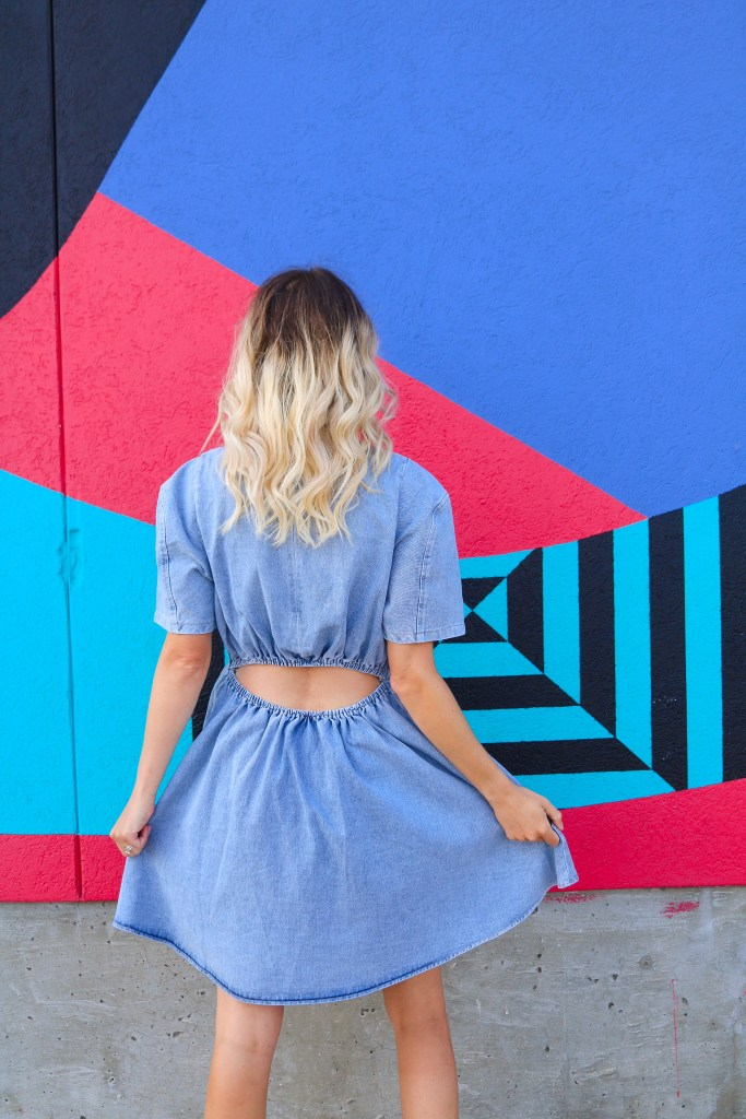Trending in 2020: puff-sleeve denim dress! affordable fashion trends, outfit of the day #style #fashion #ootd #outfits
