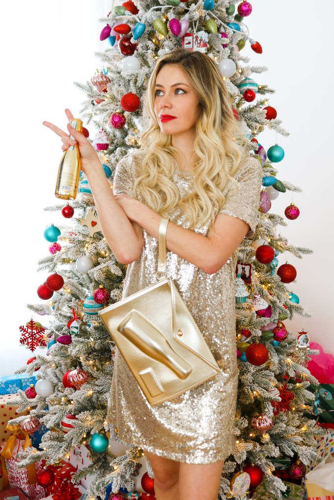 Home for the Holidays 2020 - how to stay home but still look glamorous - hair, makeup, and sequin dress outfit ideas - Celebrate the Holidays at Home- fashion and beauty for new years eve 2020