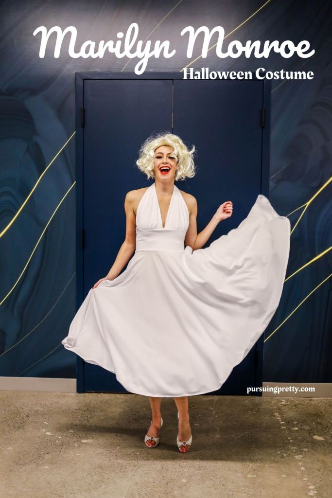 Marilyn Monroe White Dress Poses for Photos - Marilyn Monroe Photography - Easy Halloween Costume