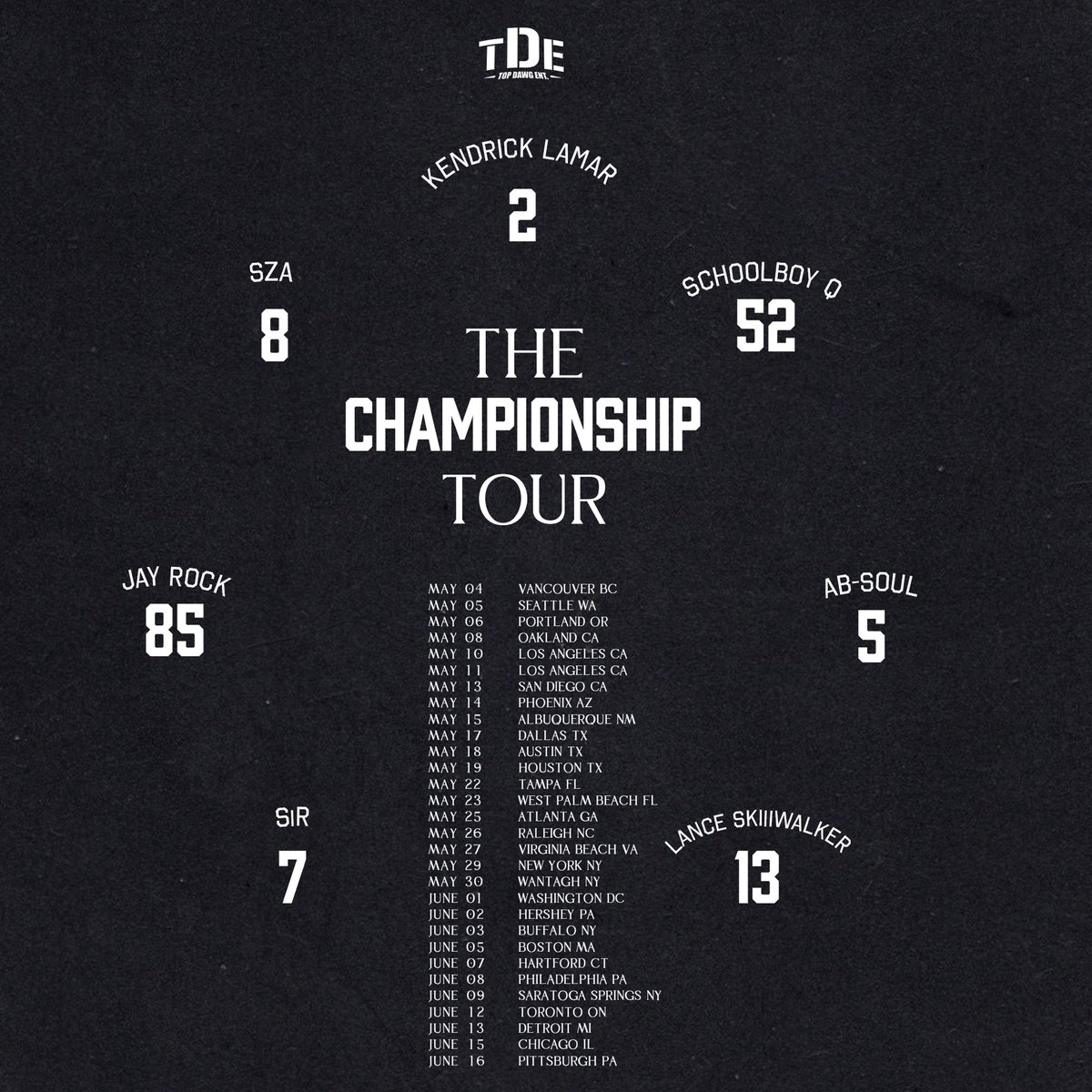 TDE Announces 'The Championship Tour' feat. Kendrick Lamar, SZA, Schoolboy Q, Jay Rock