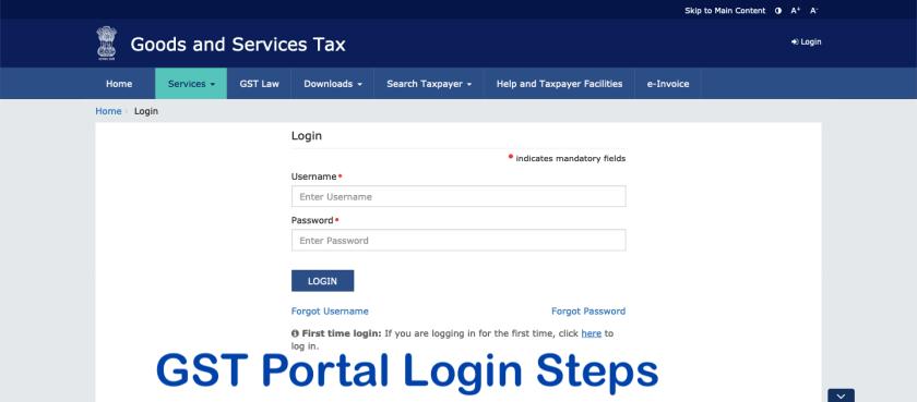 www.gst.gov.in: GST Portal Login