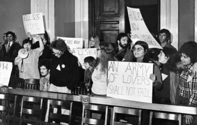 """A young Barbara Ruth, (Holding """"Army of Lovers"""" sign) with Kathy Hogan and Paola Bacchetta at Philadelphia City Hall protest."""