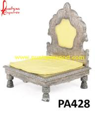 Silver Low Heighted Carving Chair | Pushpa Arts - Silver ...